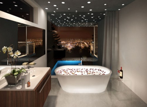 view in gallery modern bathroom with bar lighting