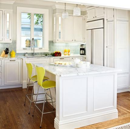 white color cabinets for kitchen with yellow chair
