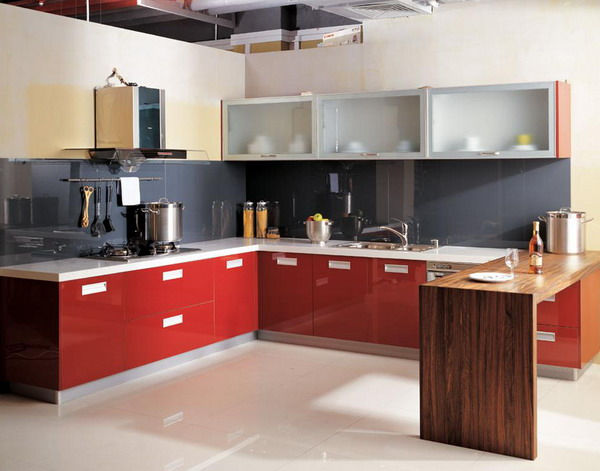 Small Kitchen design ideas with red kitchen cabinets white floor combination