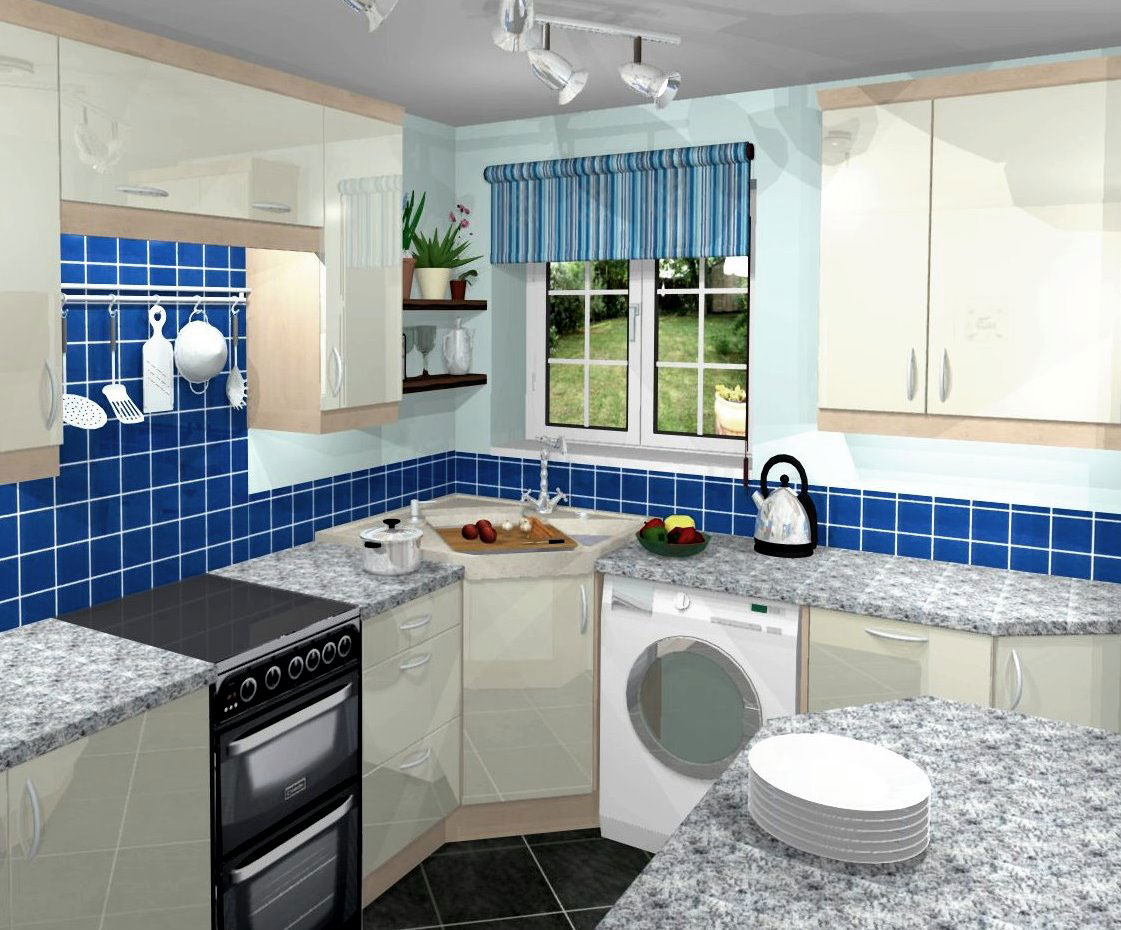 blue small kitchen remodelling ideas with white hanging cabinets