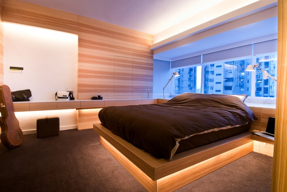 Cool and Authentic Wooden Beds in Bedroom With Glass Windows and Dark Brown Bedding