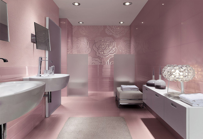 Luxury Style Bathroom Design Pinks With Cool White Double Vanities Sinks and Vanity Cabinets