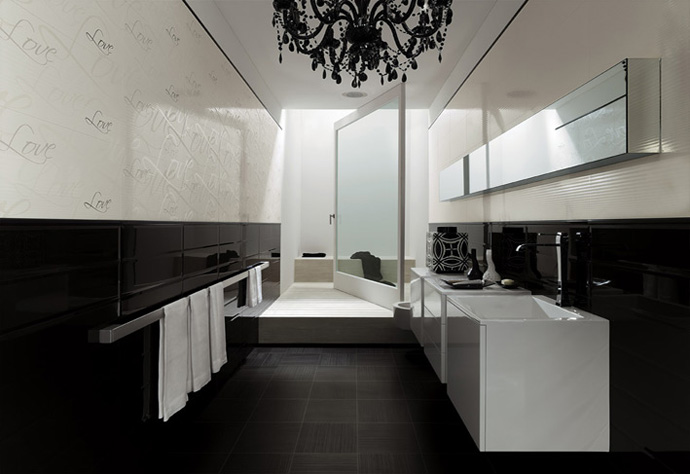 Modern Black and White Bathroom Design With White Vanity Cabinets and Towel Bar