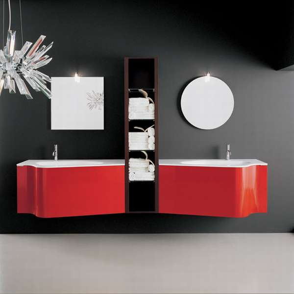 Modern Red Bathroom Vanity Cabinets With White Sinks and 2 Attached To Wall Mirror