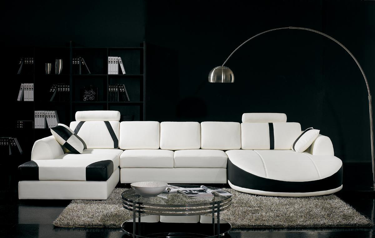 Modern Black And White Sofa Set Design Ideas With Black Wall Theme Living Room