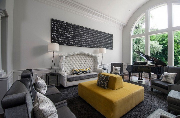 grey and yellow living room design ideas with large glass windows