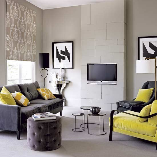 luxury grey and yellow living room design