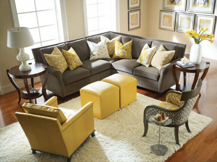 stunning grey and yellow living room design with hardwood flooring