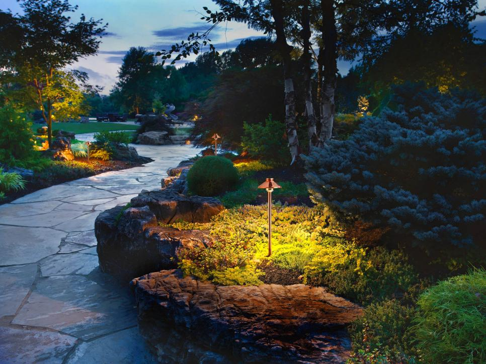 Contemporary Outdoor Lighting Ideas Along With Walkway