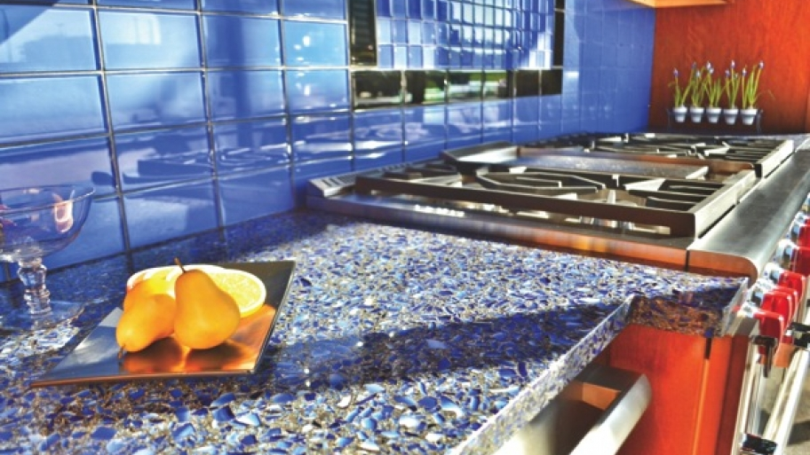 recycled glass countertops kitchen blue