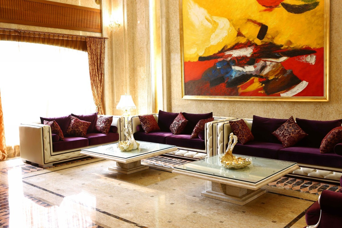 Awesome Design Of The Living Room Areas With Modern Sofa Sets Added With Two Marble Table Ideas