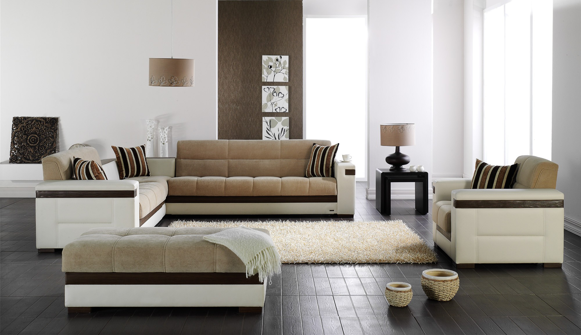 Stunning Design Of The Living Room Areas With Brown Wooden Floor And White Wall Ideas With Modern Sofa Sets