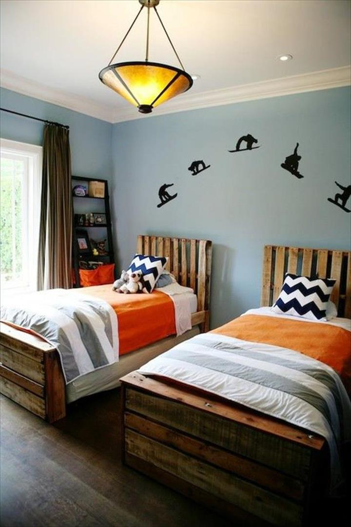 wooden pallet bed ideas with storage for kids - Wood Pallet Bed Frame With Lights