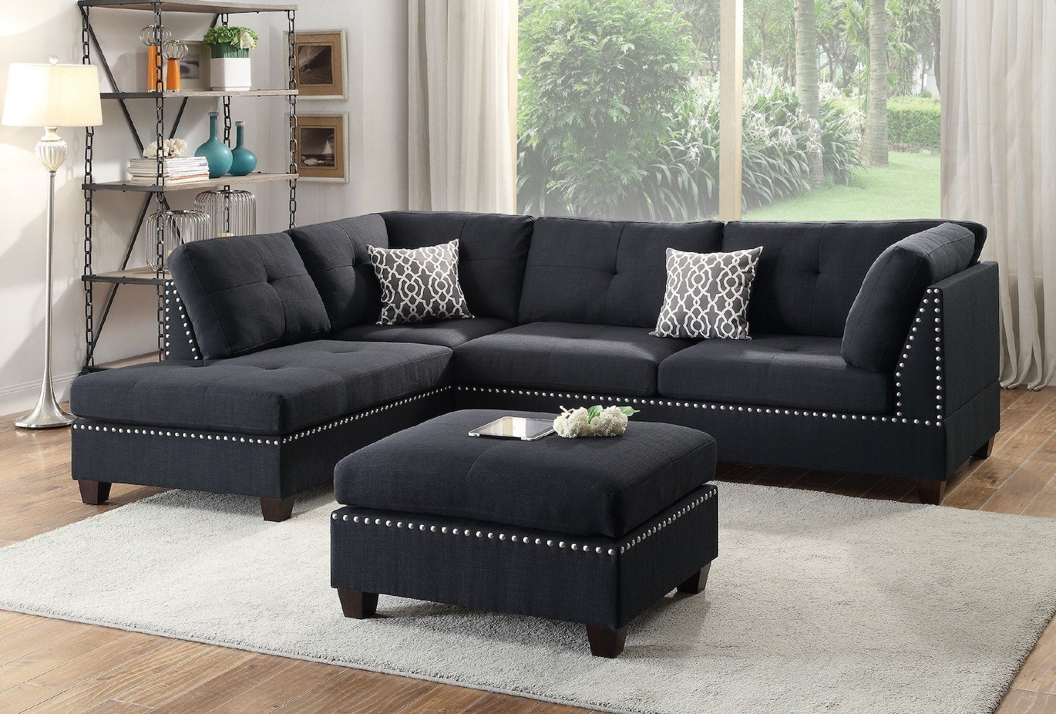 Modern Contemporary Black Polyfiber Fabric Reversible Sectional Sofa Set with Ottoman For Living Room
