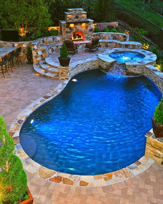 Fireplace Design Ideas with pool