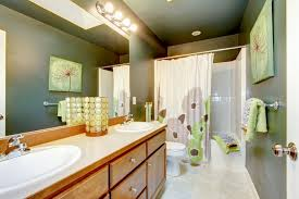 modern bathroom lighting with cabinets below