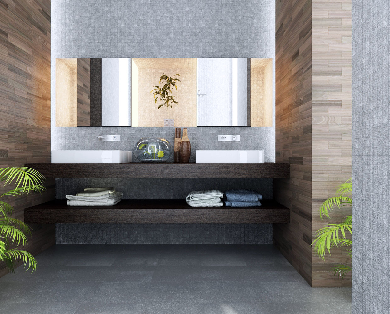 VIEW IN GALLERY Double Sink Bathroom Vanity Cabinets   Modern Design
