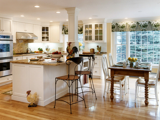 Wonderful-Country-Kitchen-Designs-Wooden-Floor-White-Cabinets-Design