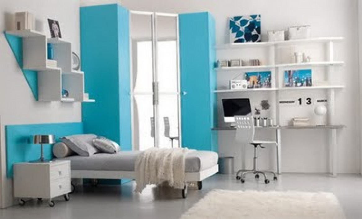 Blue bedroom design for teenagers - View In Gallery Blue Wall Interior Design For Teenagers Bedroom Girls Design