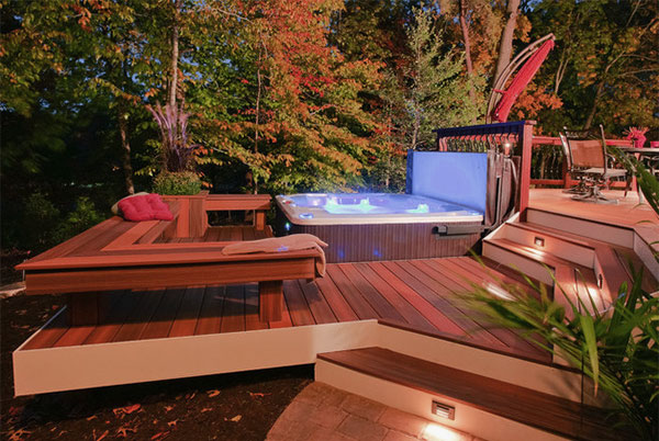 28 truly awesome wooden deck designs for your home for Spa deck design