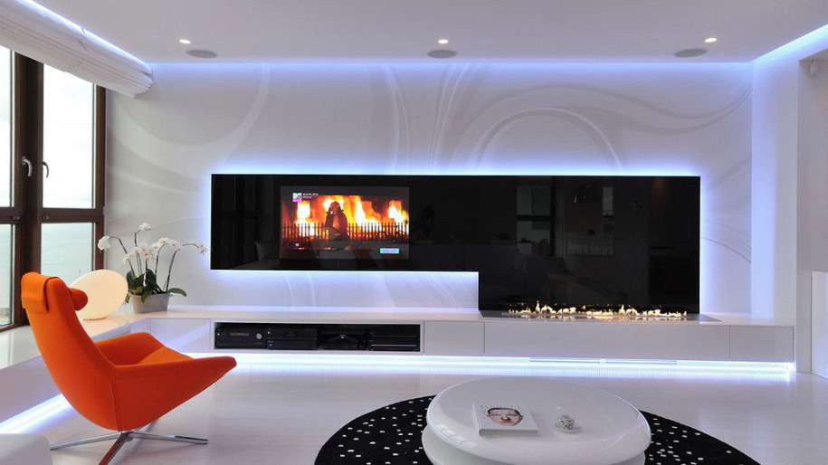 Minimalist Apartment Design With Modern Fireplace