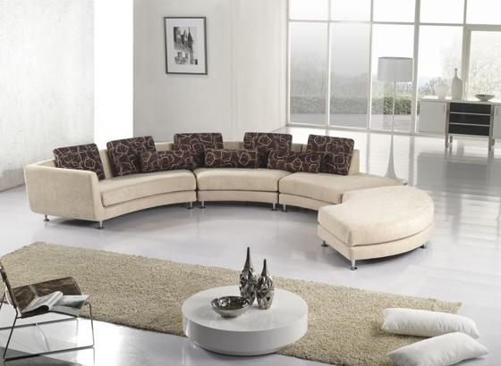 View In Gallery Modern Contemporary Furniture Sets Design Ideas Rounded Leather Sofa Set