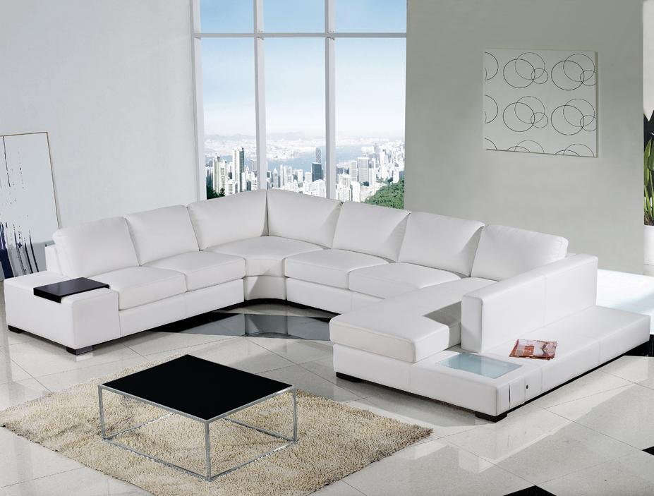 VIEW IN GALLERY Modern White Leather Sectional Sofa