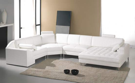 White Contemporary Bed Sectional Sofas Leather Sofa Bed Sleeper Room Modern Furniture