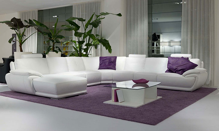 VIEW IN GALLERY White Leather Sofa With Purple