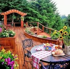 backyard design ideas with wooden deck