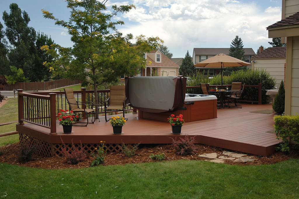 Backyard Wood Patio Ideas Wood Patio Ideas Wood Deck With One Step And  Lighting Simple Deck