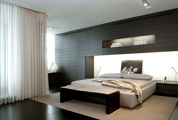 VIEW IN GALLERY Minimalist Apartment Design Ideas With Beautiful Headboard