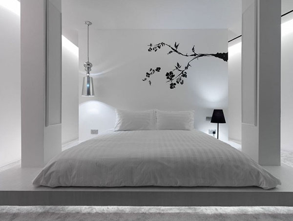 minimalist apartment design with wall murals art