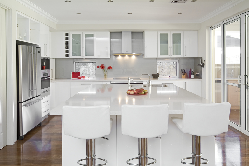 White Kitchen Decorating Ideas Photos Part - 26: VIEW IN GALLERY Modern White Color Cabinets Kitchen And Furniture