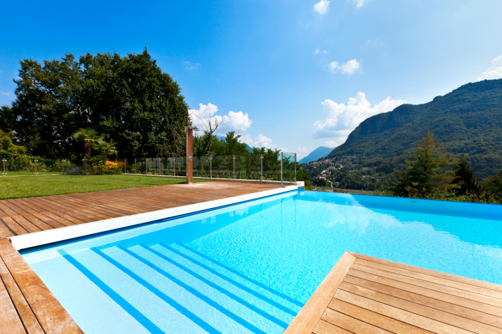 28 truly awesome wooden deck designs for your home for Wood pool deck design