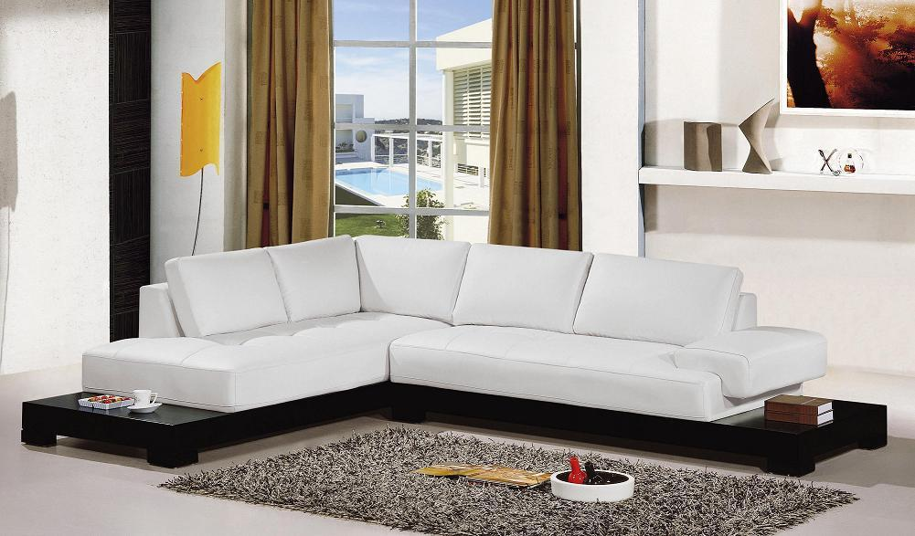 VIEW IN GALLERY White Beautiful Microfiber Sectional Sofa