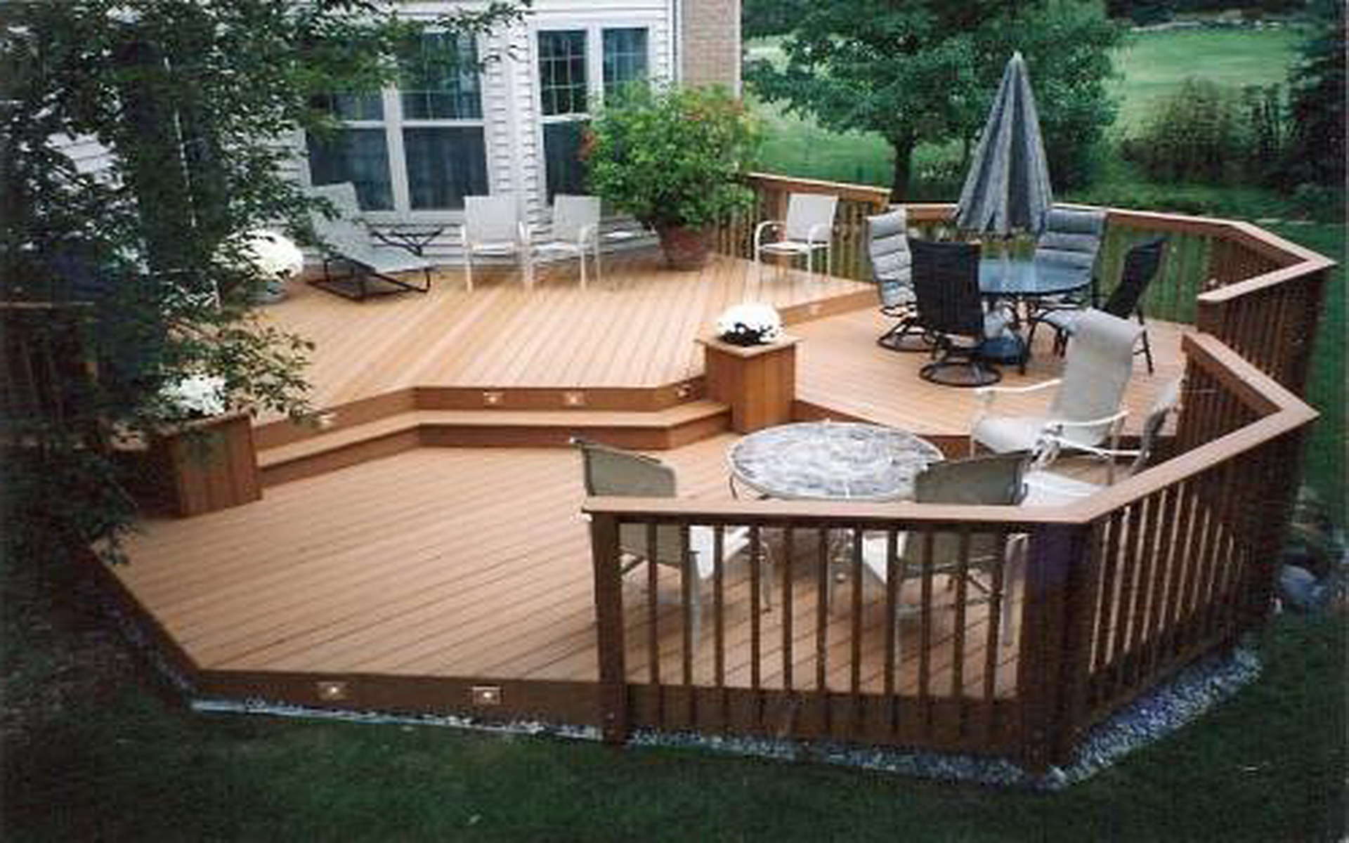 Wood deck ideas fancy backyard decks decking for back garden view in gallery wooden decks for small backyards baanklon Images