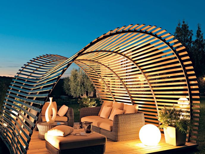 Awesome Curved Pergola With Cool Vanity Lighting for Pergola