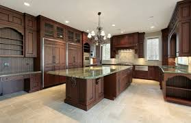 Flooring Options For Kitchens with Traditional Design Complement with Unique Crystal Chandelier