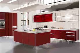 White Kitchen Tile Flooring Ideas with Red Kitchen Cabinets Design