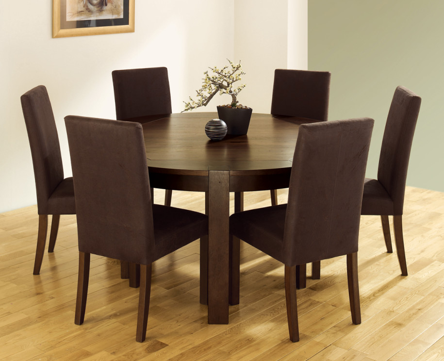 Dark Bround Circle Wood Dining Room Table