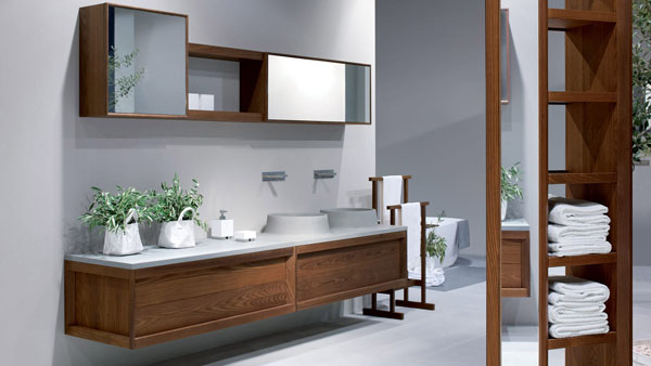 View In Gallery Mesmerizing Wood Bathroom Vanities Cabinets With White Tops And 2 Vanity Sinks