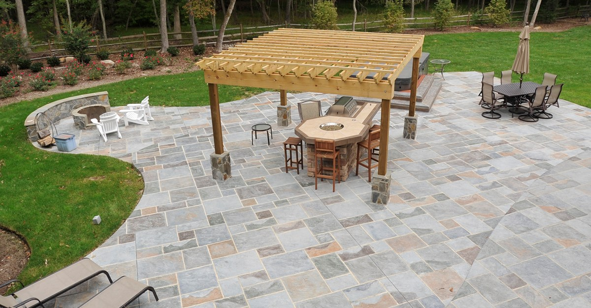 stamped concrete patio ideas with pergola design