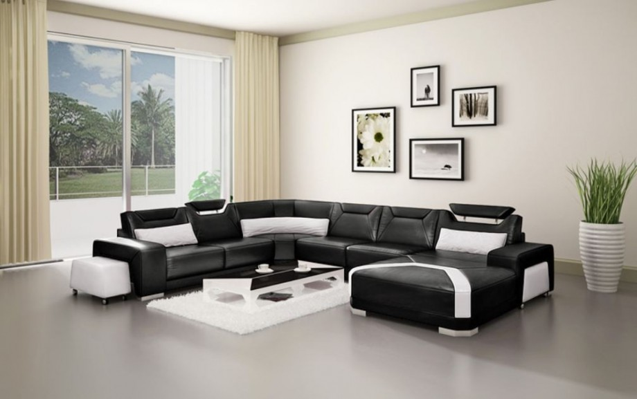 Black And White Leather Sofa Sectional In Creamy Living Room Color Theme