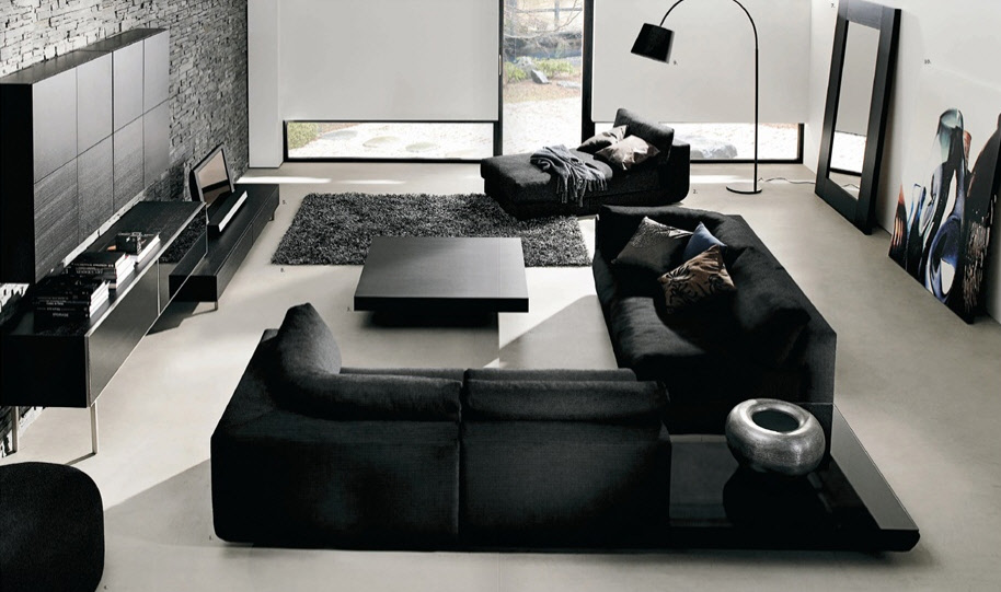 VIEW IN GALLERY Contemporary Black Leather Sofa For Modern Living Room