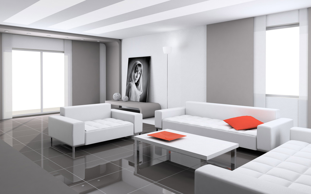 VIEW IN GALLERY Contemporary Living Room Furniture Ideas With White Leather Sofa Set
