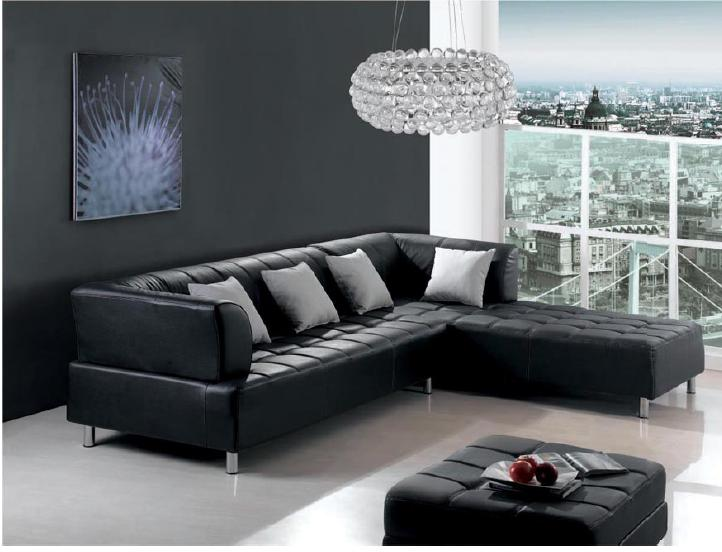 Cozy Black Leather Sofa And Loveseat Design In Small Apartment Living Room With Wall Paint