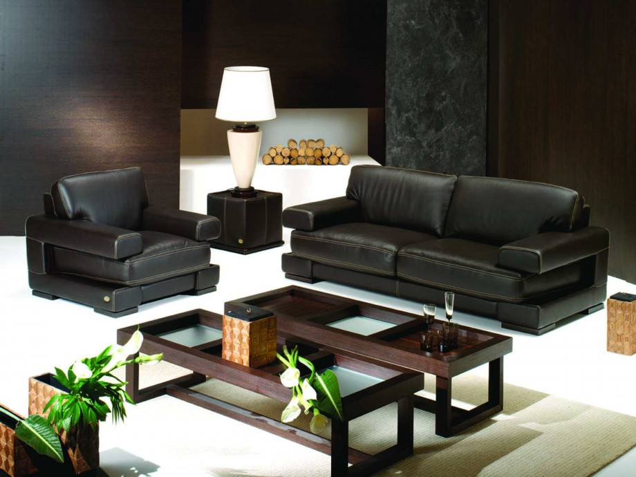 VIEW IN GALLERY Simple Black 2 Seater Leather Sofa With Cherry Wooden Glass  Top Coffee Table
