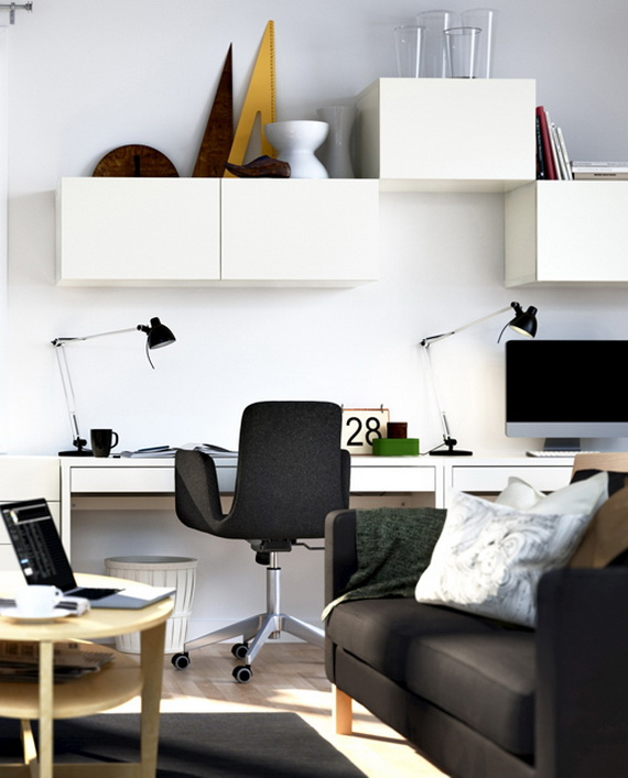 view in gallery small home office design ideas decor with black chair and white desk - Small Home Office Design Ideas
