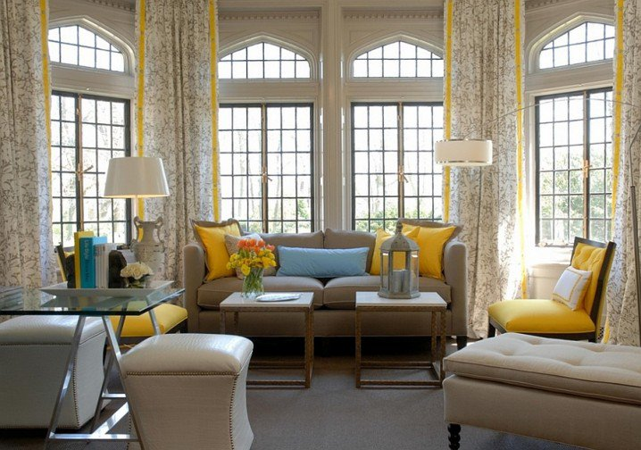 VIEW IN GALLERY Contemporary Grey And Yellow Living Room Decoration With  White Creamy Sofa Sets